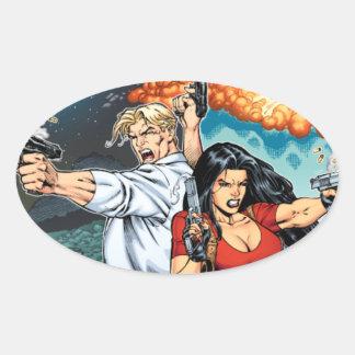B@stard Stew Action Comic Art by Al Rio Oval Sticker