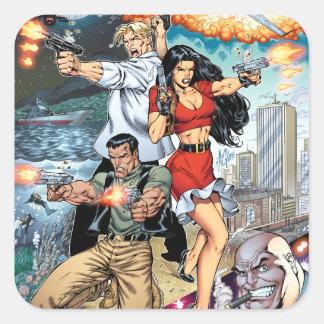 B@stard Stew Action Comic Art by Al Rio Square Sticker