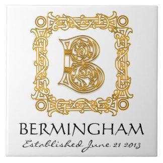"""B"" Surname Wedding Anniversary Day Monogram Tile"