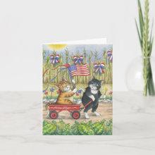 Bud & Tony Patriotic Wagon Parade July 4th Note Card