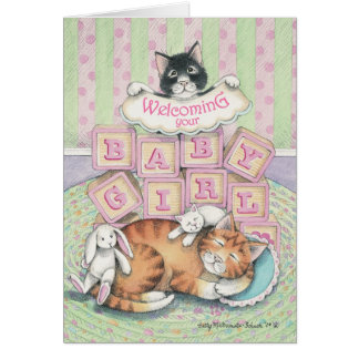 B & T #52A Baby Girl Welcome Note Stationery Note Card