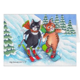 B & T #67 Ski/Snowboard Christmas Notecard Stationery Note Card