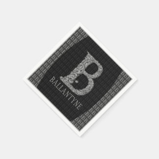 B - The Falck Alphabet (Silvery) Standard Cocktail Napkin