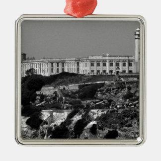 B&W Alcatraz Island Metal Ornament