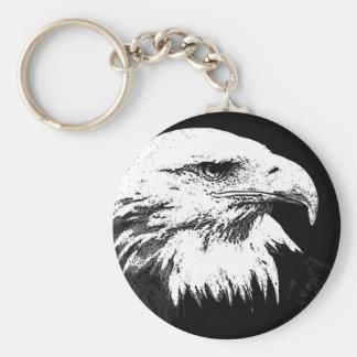 B&W American Bald Eagle Keychain