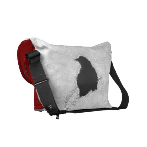 B&W and Red All Over Courier Bags