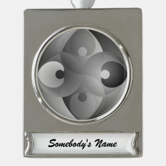 B/W Balance Silver Plated Banner Ornament