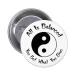B & W Balance Yin Yang Button