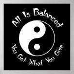 B & W Balance Yin Yang Poster