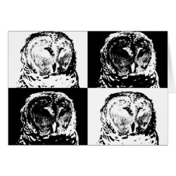 Note Card with B/W Barred Owl Pop Art design