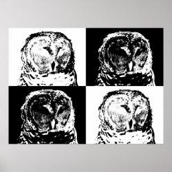 Matte Poster with B/W Barred Owl Pop Art design