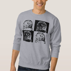 Men's Basic Sweatshirt with B/W Barred Owl Pop Art design
