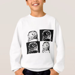B/W Barred Owl Pop Art Kids' American Apparel Organic T-Shirt