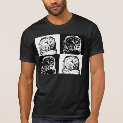 Men's Alternative Apparel Basic Crew Neck T-Shirt with B/W Barred Owl Pop Art design