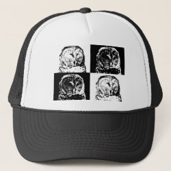Trucker Hat with B/W Barred Owl Pop Art design