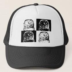 Trucker Hat with B/W Barred Owl Pop Art design