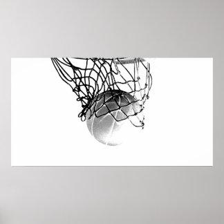 B&W Basketball Ball Print Poster