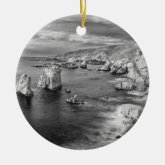 B&W beach coastline, California Ceramic Ornament