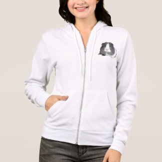 B&W 'Betty' Guinea Pig Ladies Zip Hoodie