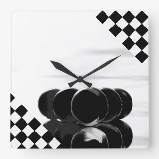 B/W Black Unusual Art Billiards Checkerboard Clock