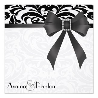 B&W Brocade Black Bow Damask Wedding Invitation