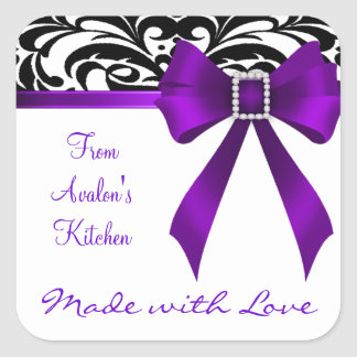 B&W Brocade Purple Bow Baking Stickers
