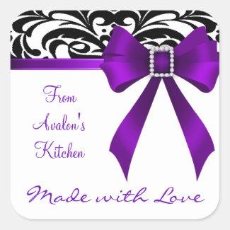 B&W Brocade Purple Bow Baking Stickers