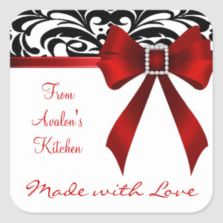 B&W Brocade Red Bow Baking Stickers