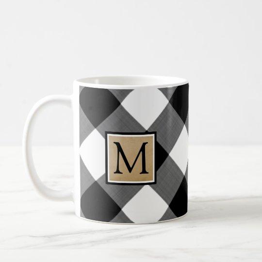 Bw Buffalo Check Monogram Coffee Mug Zazzlecom