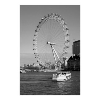 B/W Canvas Print of the London Eye Ferris Wheel