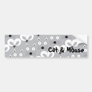 B&W Cat & Mouse Bumper Sticker