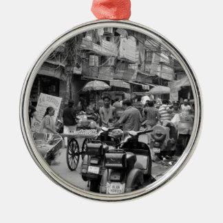 B&W Chaos in Delhi Metal Ornament