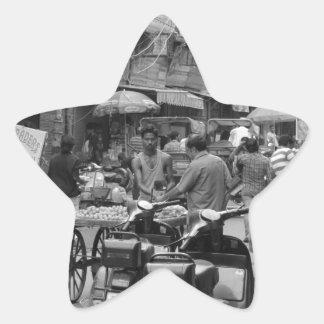 B&W Chaos in Delhi Star Sticker