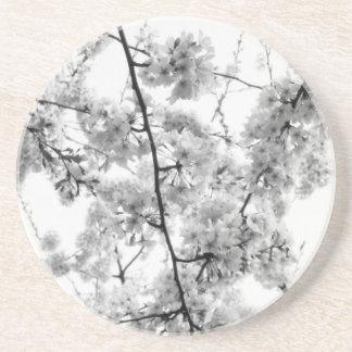 'B&W Cherry Blossoms' Coaster