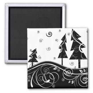 b&w Christmas trees 2 Inch Square Magnet