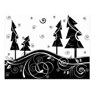 b&w Christmas trees Postcard