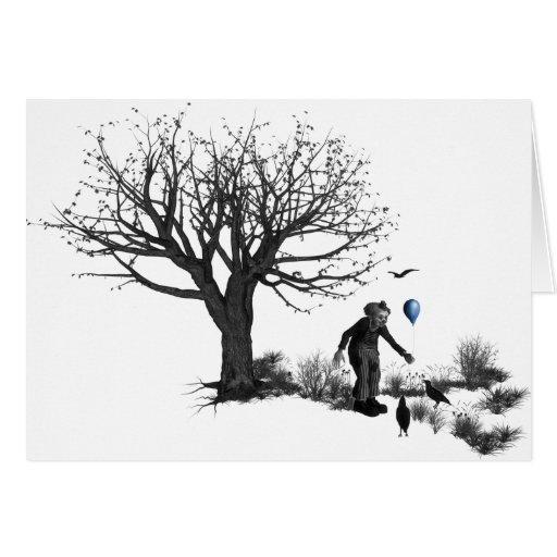 B&W Clown - Blue Balloon - Old Tree - Ravens Greeting Cards