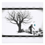 B&W Clown - Turquoise Balloon - Old Tree - Ravens Personalized Invitations