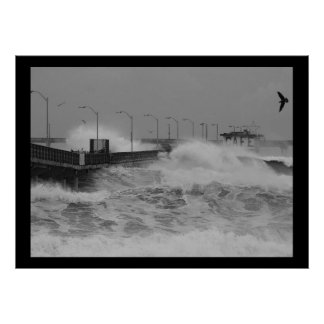 B&W Crash of a fierce storm ocean wave Poster