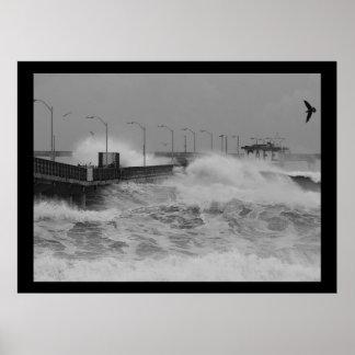 B&W Crash of a fierce storm ocean wave Poster