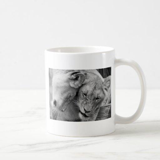 B&W Cute lions Classic White Coffee Mug