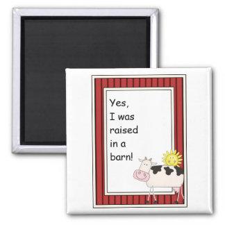 B & W Dairy Cow - Farmyard Barnyard Friend - Kids 2 Inch Square Magnet