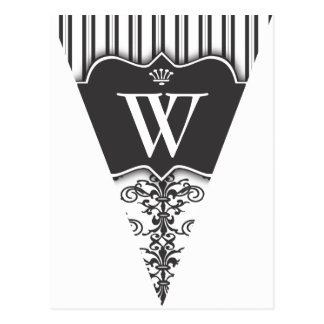 B&W Damask Party Flag Bunting Banner Postcard