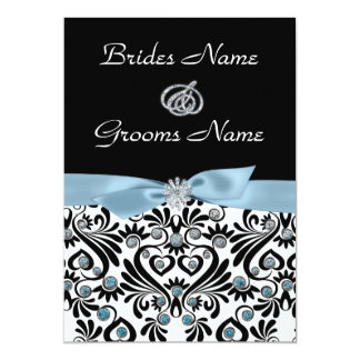 "B & W Damask with Baby Blue Accents Wedding Invita 5"" X 7"" Invitation Card"