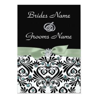 B & W Damask with Sage Green Wedding Invitations