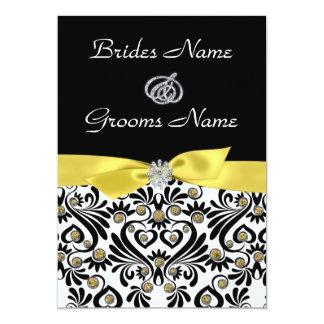 B Amp W Damask With Yellow Wedding Invitations