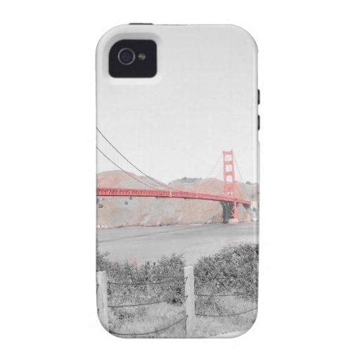 B&w de puente Golden Gate con estallido del color Case-Mate iPhone 4 Funda