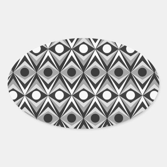 B & W Diamond Oval Sticker