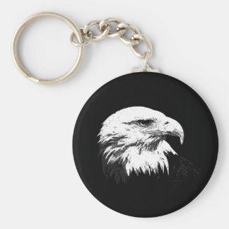 B&W Eagle calvo americano Llavero Redondo Tipo Pin
