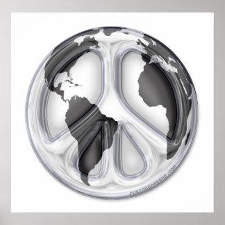 B&W Earth-peace sign Print